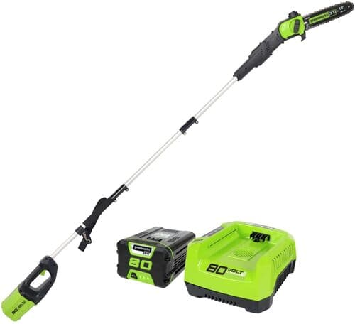 7 Greenworks PRO 80V 10 Brushless Cordless Polesaw, 2.0Ah Battery and Charger Included PS80L210